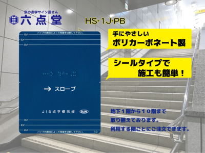 HS-1J-PB  階段手すり用点字標示板12枚セット (青色/白文字)*左右両側手すり用
