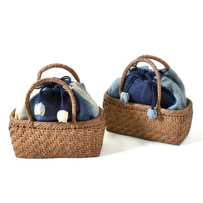 現品限り【国産】山ぶどう蔓カゴバッグ「角丸・小・藍巾着」