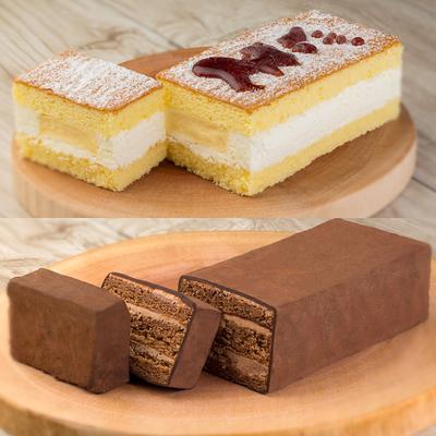 プリンなケーキとチョコケーキセット
