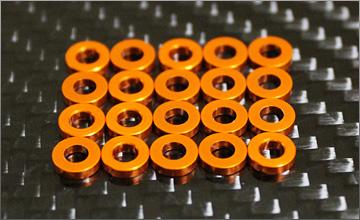RC-mission Highquality Aluminum shim orange 3x6x1.5mm 20pcs