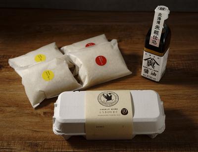すべて北海道栗山町産のたまごかけご飯ギフトボックス
