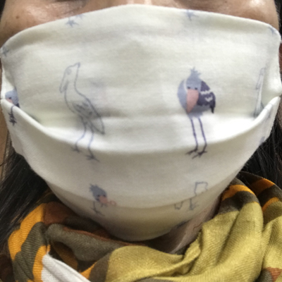 キッズてぬぐいのマスク ごきげんハシビロコウ
