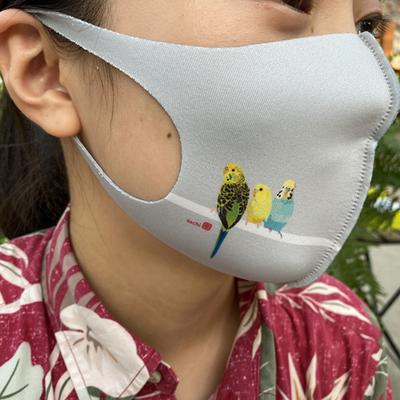 ウレタンマスク とりアート セキセイMサイズ 制菌冷感
