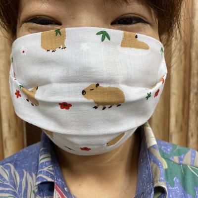 オリジナルてぬぐいのマスク カピバラスパ 大人用・子供用