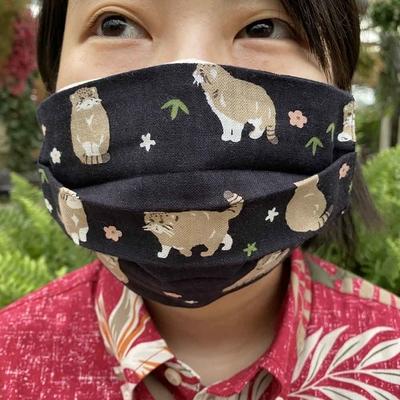 てぬぐいのマスク ぽっちゃりまぬる 大人用・子供用 マヌルネコ
