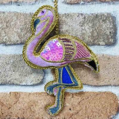 フラミンゴ ザリ刺繡キーホルダー