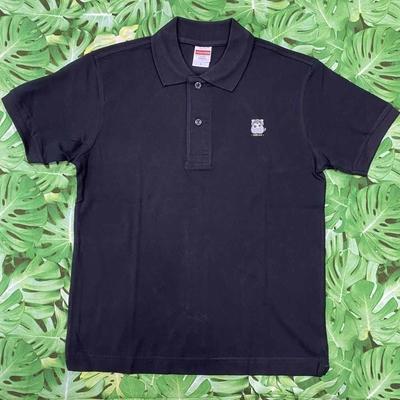 マヌルネコ 刺繍ワッペンポロシャツ(ブラック)