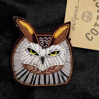 フクロウ ザリ刺繡ブローチ
