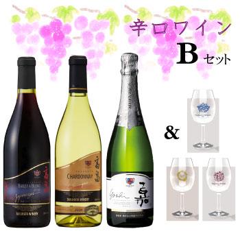 【Bセット】辛口ワイン&記念グラスセット【送料無料】