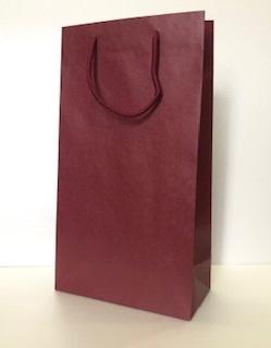 ワイン・ギフト紙袋(ワイン2本用)レッド