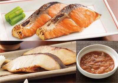 紅鮭塩糀漬、銀だら味噌漬、かんずり入り塩辛セット