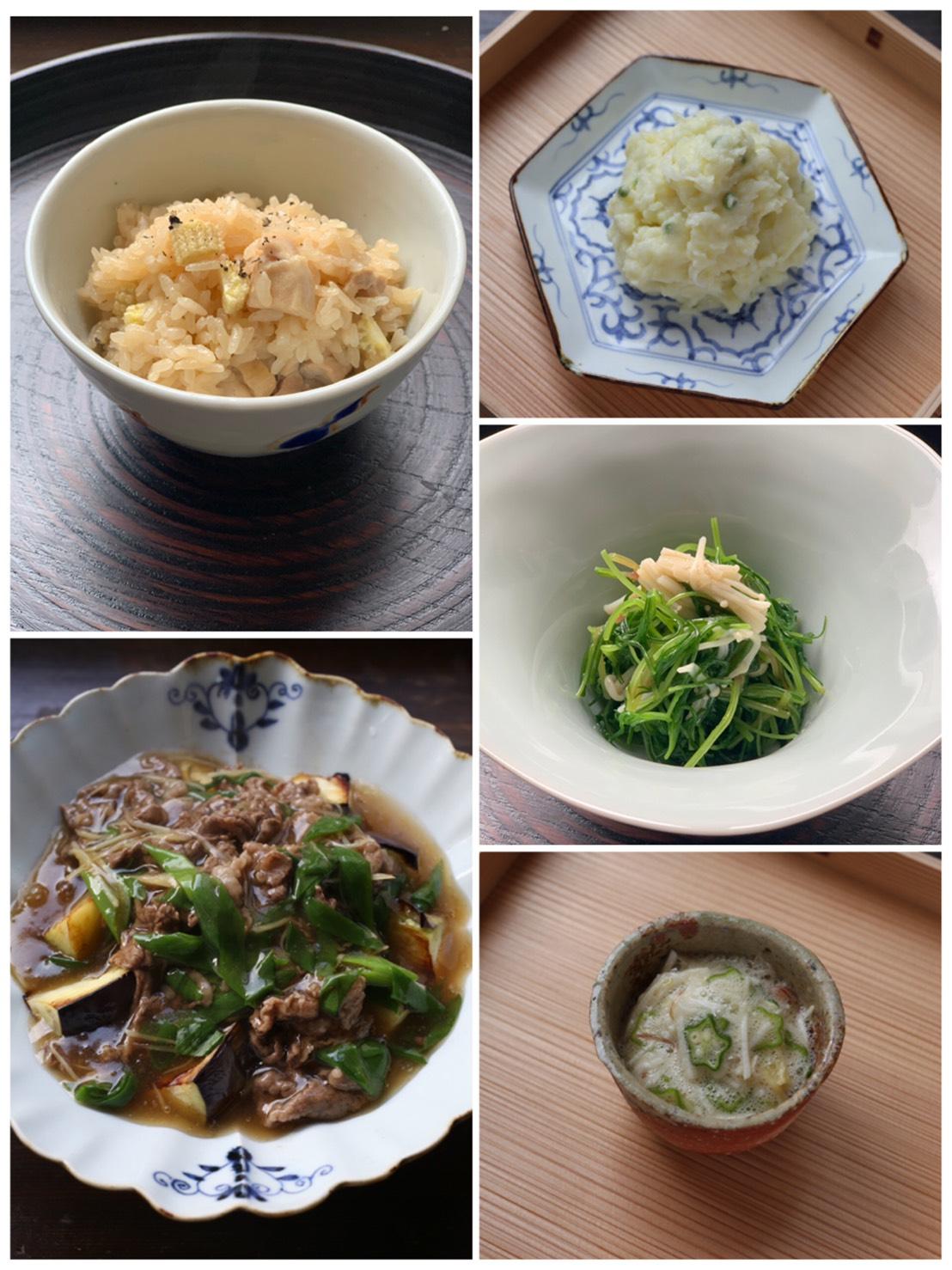 6月オンラインレッスン5品(レシピ、動画、食材付)