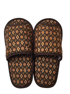タイ伝統的柄 スリッパ(brown)