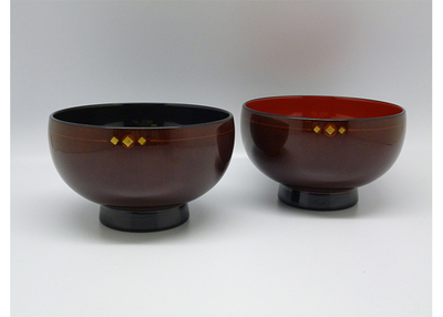 丸三漆器 けやき木地呂夫婦汁椀【0021401】