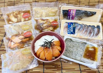 石山水産 漬け丼の具(7種入)&お刺身セット【0020232】