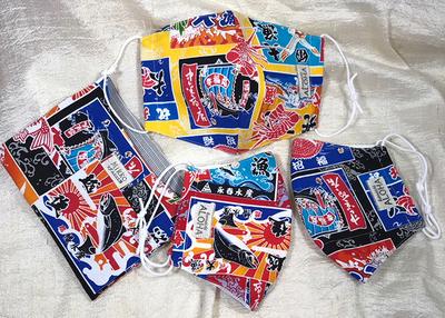 釜石マダムミコ工房 大漁柄 布立体マスク色違い3枚(収納袋つき)セット【0020293】
