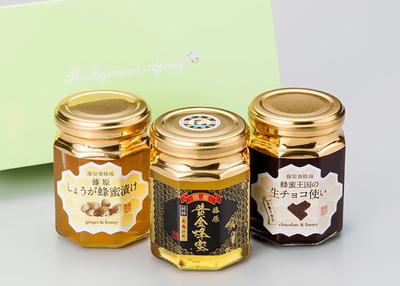藤原養蜂場 蜂蜜特選3本セット(栃・しょうが漬・生チョコ使い)【0020265】