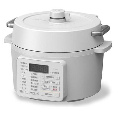 〔送料無料〕〔直送〕アイリスオーヤマ 電気圧力鍋 2.2L 2WAYタイプ グリル鍋 6種類自動メニュー 65メニュー掲載レシピブック付き PC-MA2-W(ホワイト)