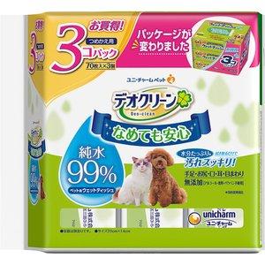 ペット用 ウェットティッシュ ユニ・チャーム デオクリーン 純水99% つめかえ用 (70枚入×3個)