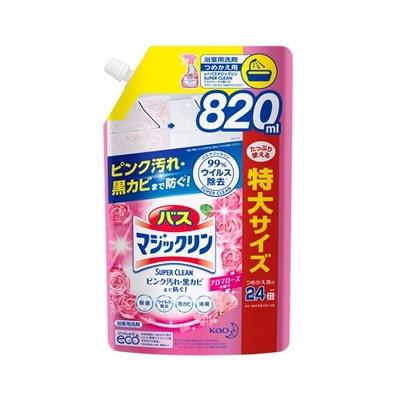 バスマジックリン 泡立ちスプレー SUPER CLEAN アロマローズの香り つめかえ用 820ml