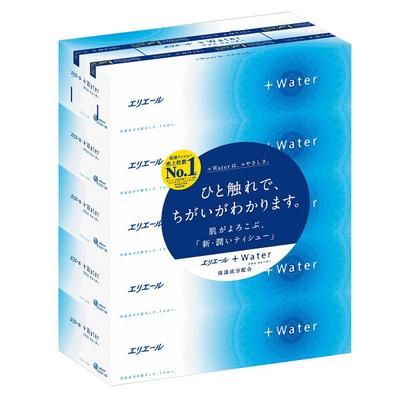 ティッシュペーパー 保湿 180組(5箱入) エリエール+Water