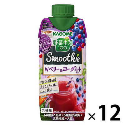カゴメ 野菜生活100 スムージーWベリー&ヨーグルトMIX 330ml 1箱(12本入)