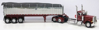 Peterbilt 379 Day Cab with MAC Coal Dump Trailer in Chrome