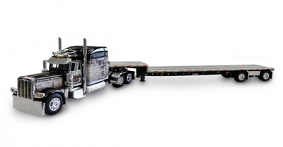 "Peterbilt 389 with 70"" Mid Roof Sleeper and Transcraft Step Deck Trailer"