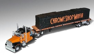 """Chrome Shop Mafia"" Peterbilt 379 w/Flatbed & Tarped Load"