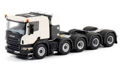 Scania P 10x4 Flow Axis in White Features an adjustable fifth wheel