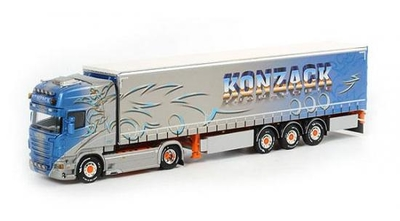 Konzack - Scania R6 Topline 4x2 tractor with 3 axle Curtainside Traile