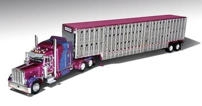 "Kersplat - Earl Peterson Trucking - Peterbilt 379 with 63"" Sleeper and Wilson Livestock Trailer"