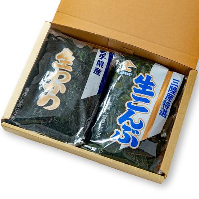 岩手県産 塩蔵生わかめ 500g・生こんぶ 1kgセット(化粧箱入)
