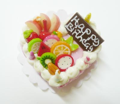 【激安・ミニチュア・ネコポス便】ハート型 ケーキ023(ミニチュア雑貨、ミニチュアフード、ミニチュアスイーツ、ホールケーキ)