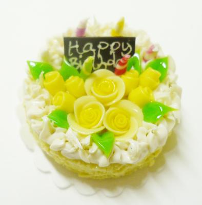 【激安・ミニチュア・ネコポス便】ラウンド型 ケーキ015(ミニチュア雑貨、ミニチュアフード、ミニチュアスイーツ、ホールケーキ)