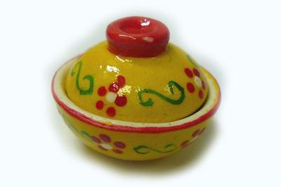 土鍋 どんぶり (黄色・花柄)