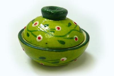 土鍋 どんぶり (黄緑・小花)