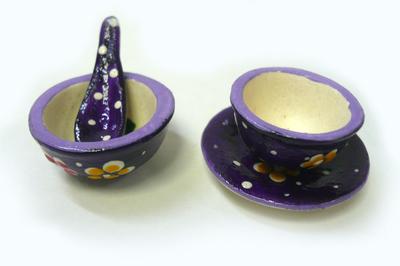 ミニボールセット (紫色・花&水玉)