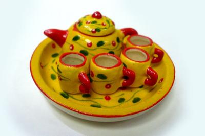ポット&マグカップ 黄色・小花