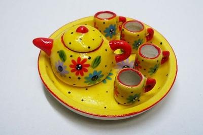 ポット&マグカップ 黄色・赤花