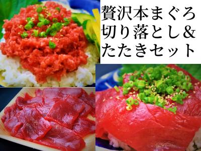 【三高水産】本まぐろ切り落とし&たたきセット(600g)