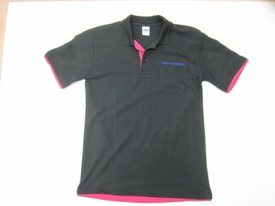 中大ベーシックレイヤードポロシャツ(英文字CHUOUNIVERSITY) ブラック×ホットピンク