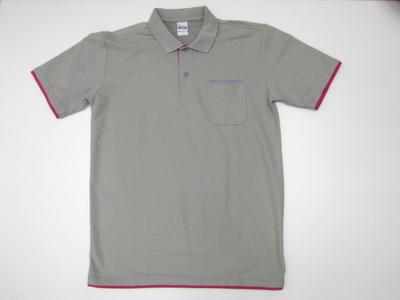 中大ベーシックレイヤードポロシャツ(英文字CHUOUNIVERSITY) グレー×ホットピンク