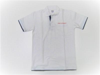 中大ベーシックレイヤードポロシャツ(英文字CHUOUNIVERSITY) ホワイト×ブルー