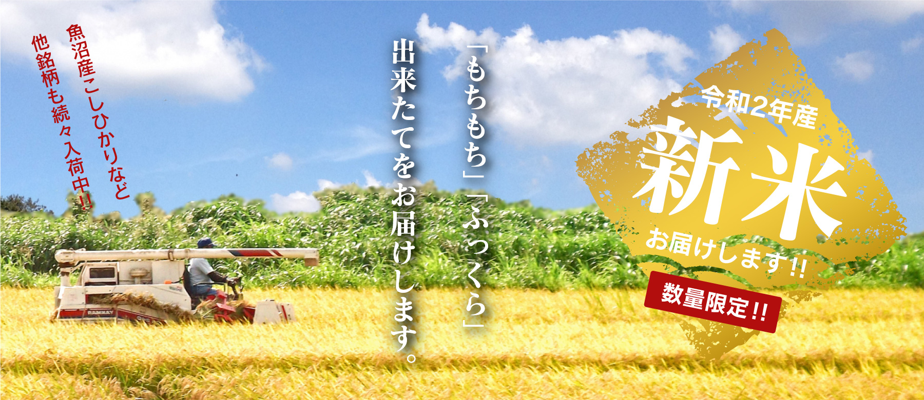 【2020年】令和2年産 新米(玄米) 販売開始のお知らせ