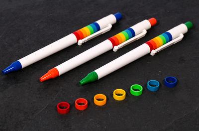 イタリア製 レインボーボールペン(10本セット)